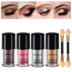 Other - 4 Colors Glitter Eyeshadow Loose Powder w brush